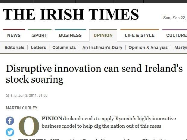 Irish Times article about Disruptive Innovation